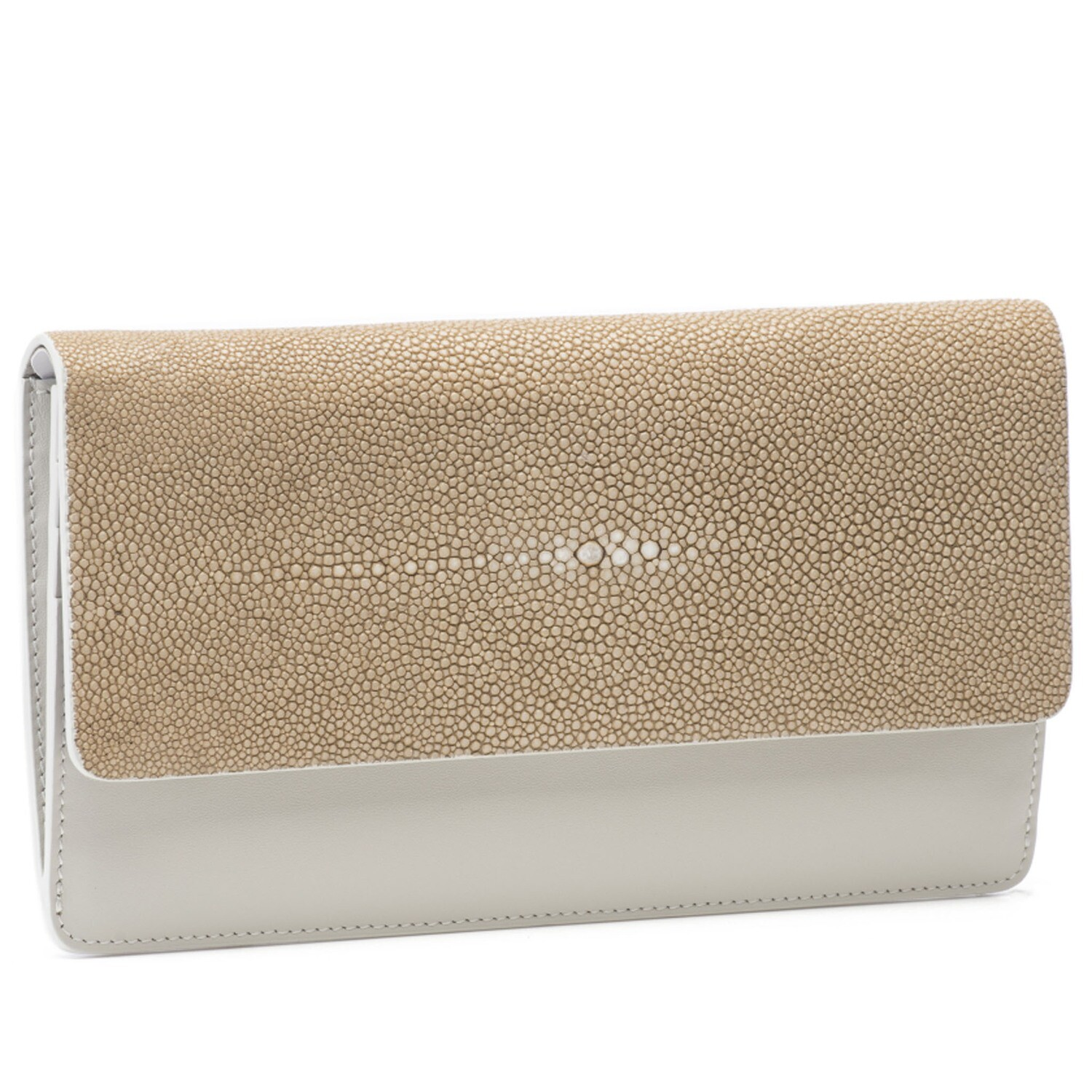Camel Shagreen and Putty Leather Clutch