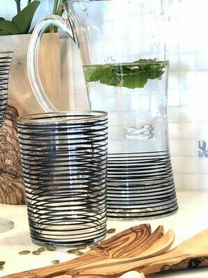 SL052 Drinking Glass - Striped - Black