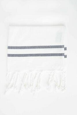 SL011 Guest Towel White + Black Stripe Chevron