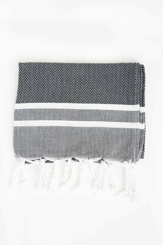 Guest Towel Black + White Stripes Chevron