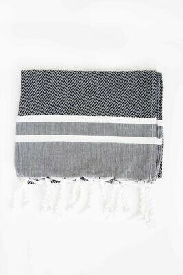 SL013 Guest Towel Black + White Stripes Chevron