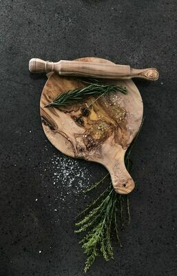 Olive Wood Round Pizza Board 12