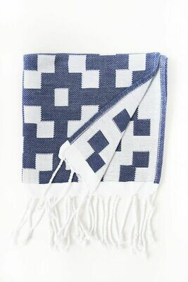 SL151 Guest Towel Scattered Check Navy + White