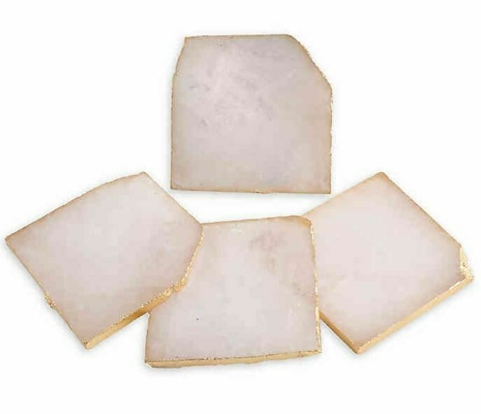 "CC147 4"" Square Agate Coasters w/ Gold Foil Trim, Pink, Set of 4"