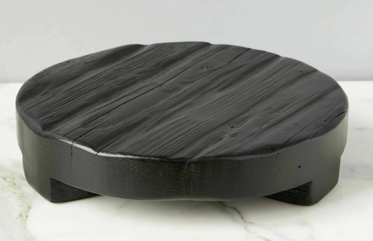 EO103 Black Wood Round Trivet - Medium