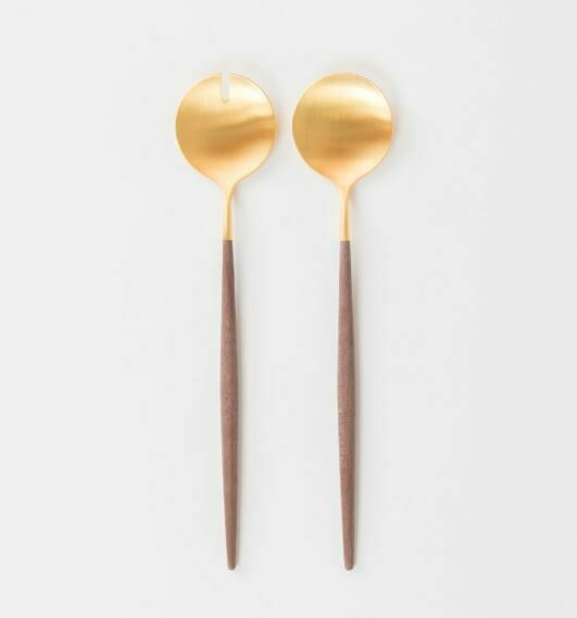 Matte Gold + Brown Handle Salad Serving Set