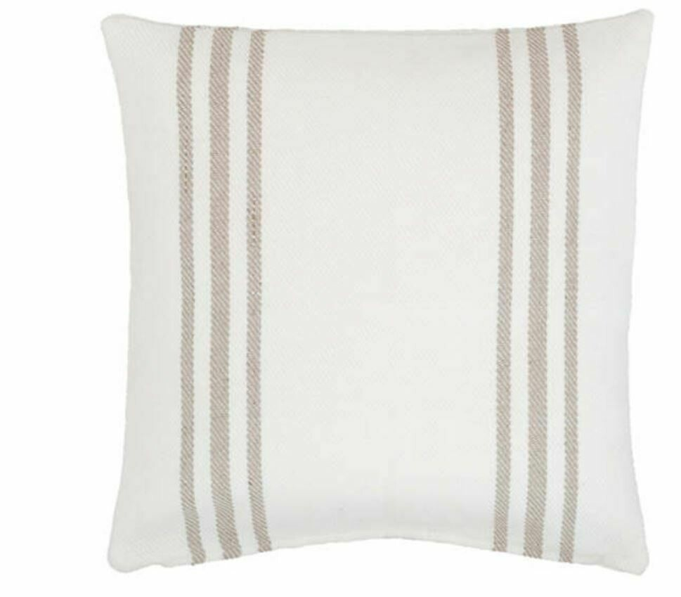 DA014 Cream and Tan Stripe Indoor/Outdoor Pillow