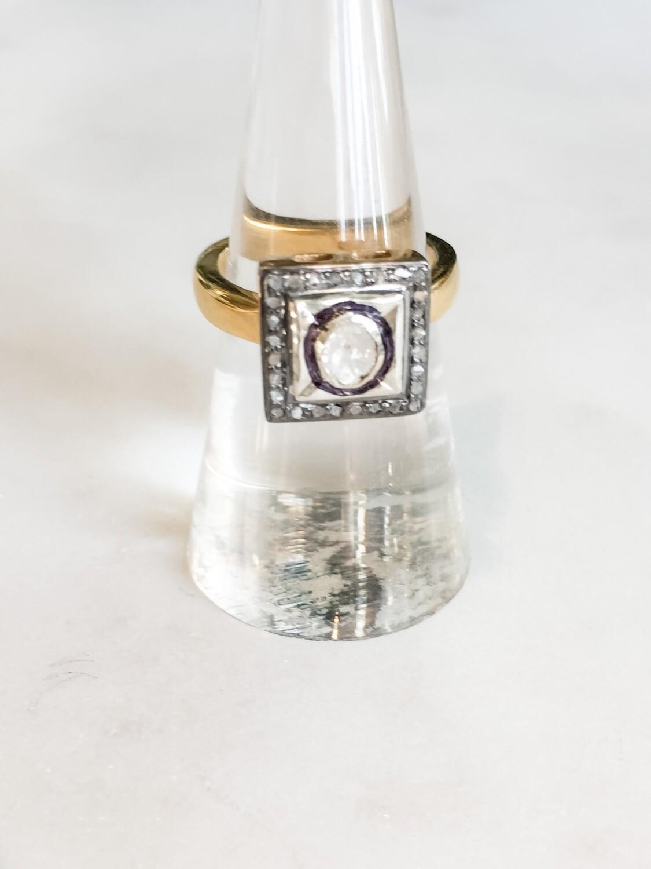 Square Raw Diamond Ring 7.5