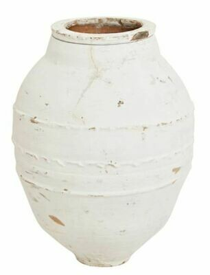 Medium Narrow Mouth Whitewashed Terracotta  Pot