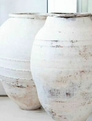 Large Narrow Mouth Whitewashed Terracotta Pot