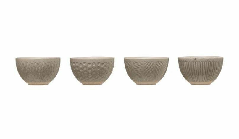 BV153 Round Grey Imprinted Stoneware Bowl