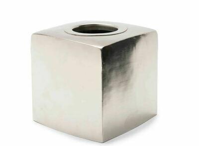 KX028 Hammered Silver Tissue Holder 5.5