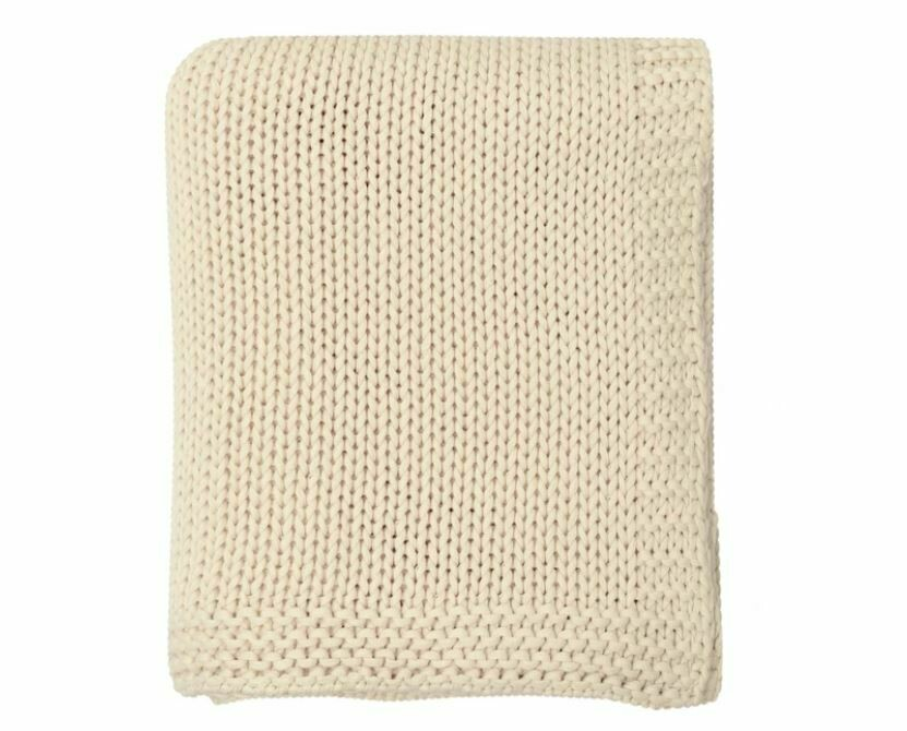 DZ006 Lauren Knitted Throw NATURAL 100% Cotton 50'' x 60''