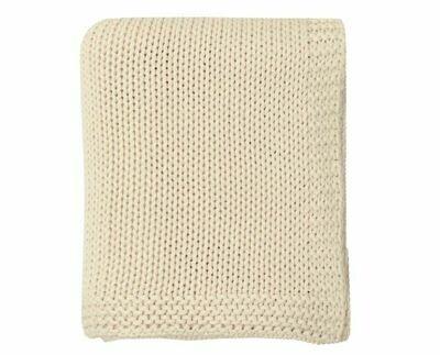 DZ006 Lauren Knitted Throw NATURAL 100% Cotton 50'' x 60''