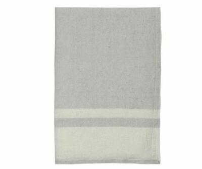 DZ012 Washed Stripe Linen Tea Towel GREY/NATURAL