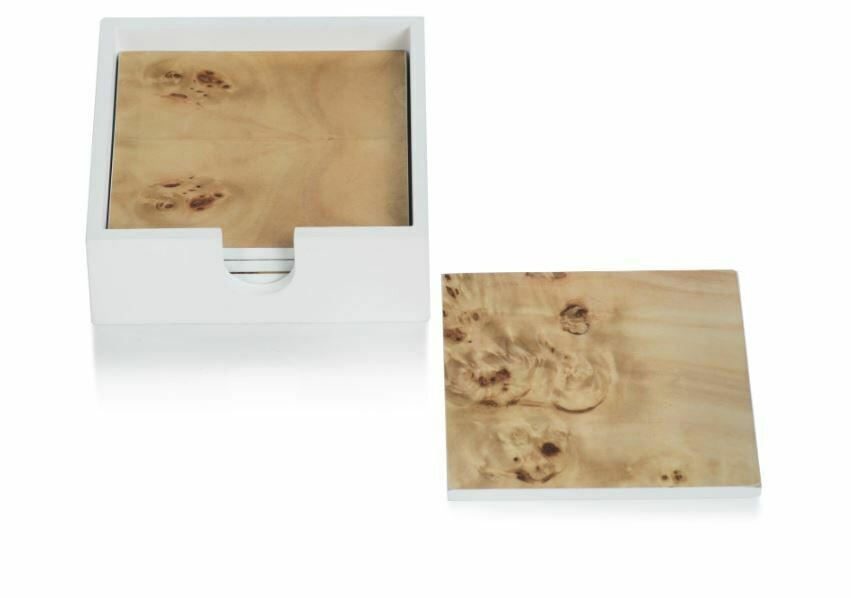 Square Camel Wood Coasters S/4 in White Case