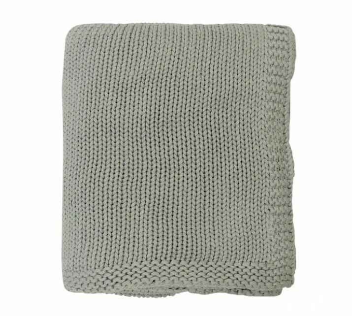Lauren Knitted Throw GREY 100% Cotton 50'' x 60''