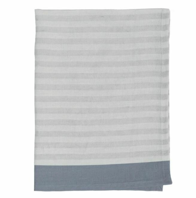 DZ010 Clean Stripe Linen Tea Towel GREY/STONE