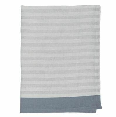 DZ010 Clean Stripe Linen Tea Towel GREY/STONE
