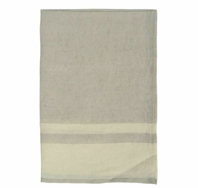 DZ011 Washed Stripe Linen Tea Towel STONE/NATURAL