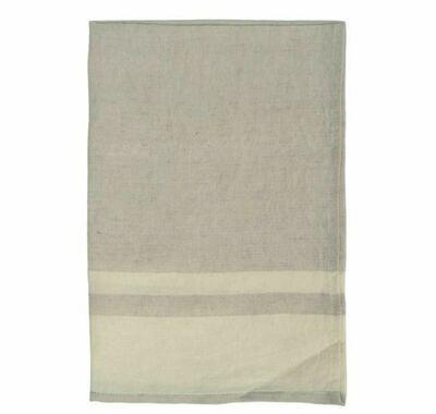 DZ011 Washed Stripe Linen Tea Towel STONE/NATURAL