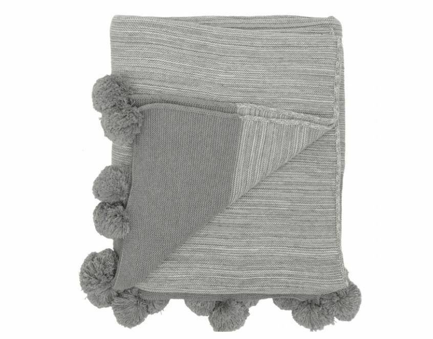 DZ114 Pom Throw - Gray Melange+ Natural