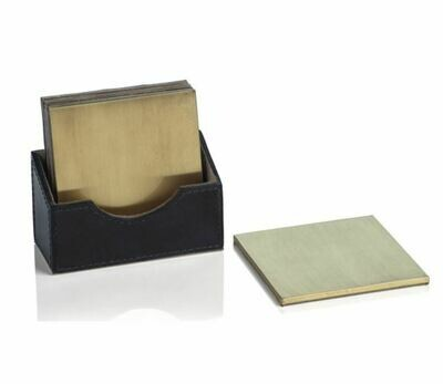Gold Coaster in Leather Case S/4