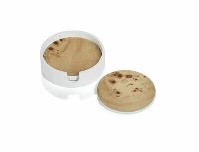 ZX052 Round Camel Wood Coasters S/4 in White Case