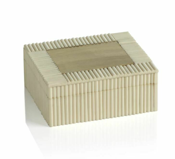 Kerala White Bone and Brass Box