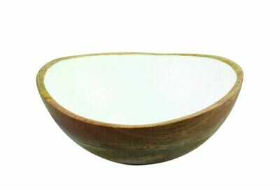 Mango Wood + White Enamel Bowl, Medium