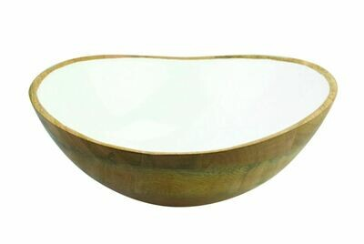 Mango Wood & White Enamel Bowl, Large