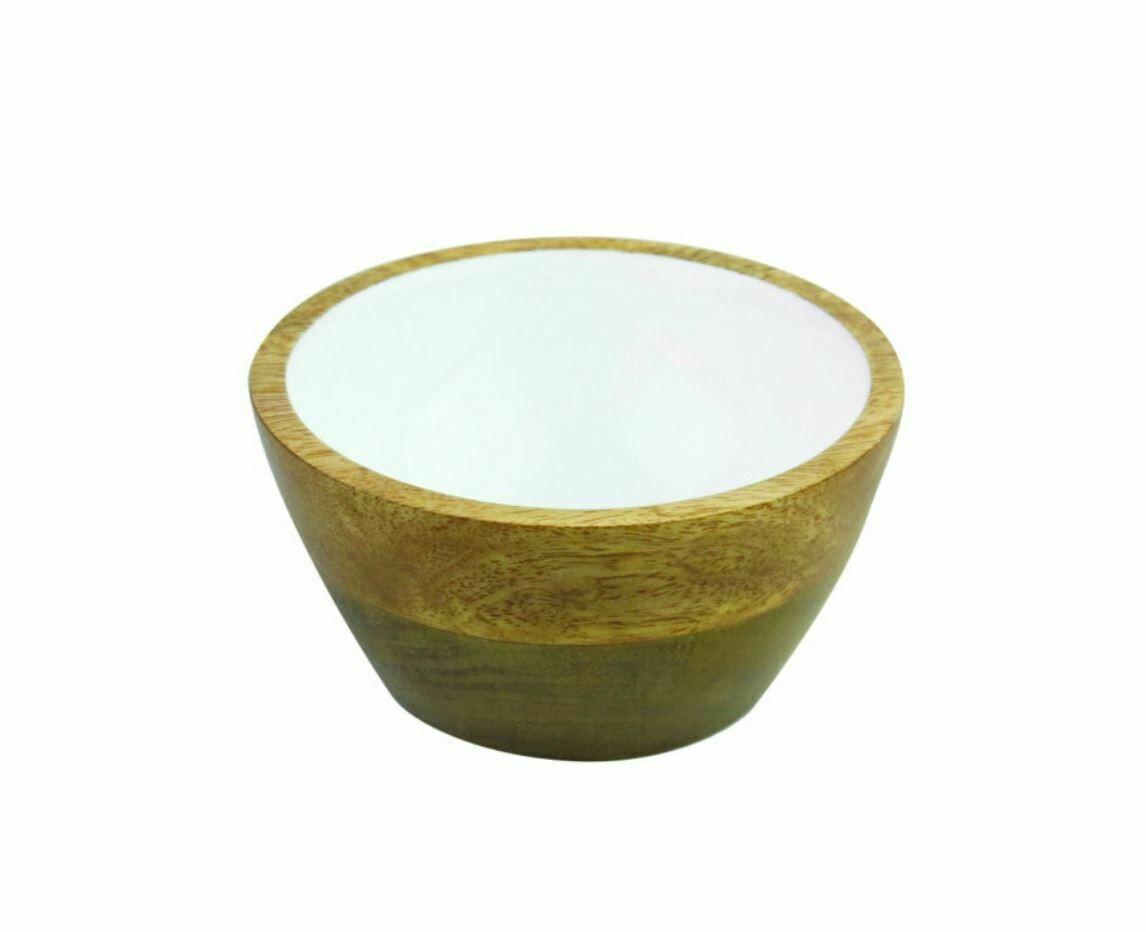 Small Mango Wood + Enamel Bowl