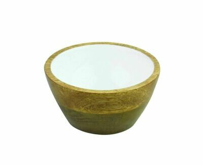 Mango Wood + Enamel Bowl, Small