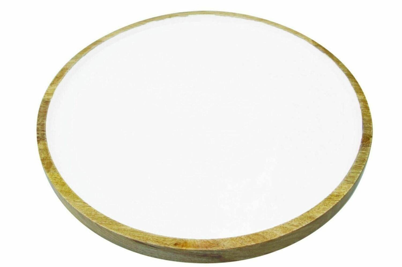 BH004 Mango Wood + White Enamel Round Platter