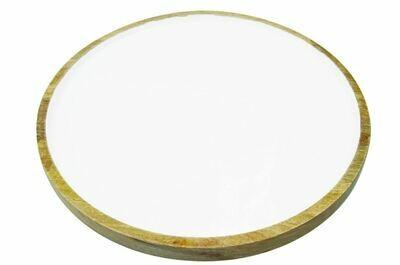 Mango Wood + White Enamel Round Platter