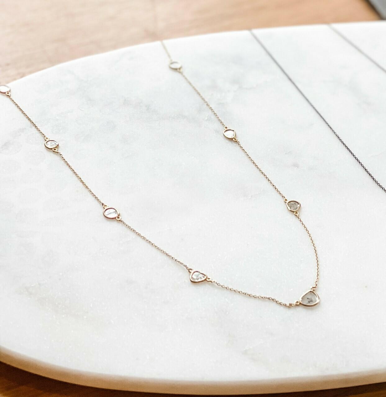 "Sliced Diamond Vermeil Necklace 22"""