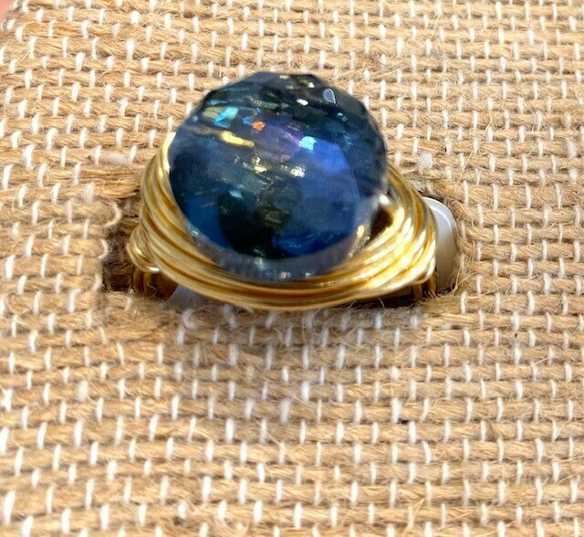 Night Sky Swarovski Ring (Small Puffed Coin) GF