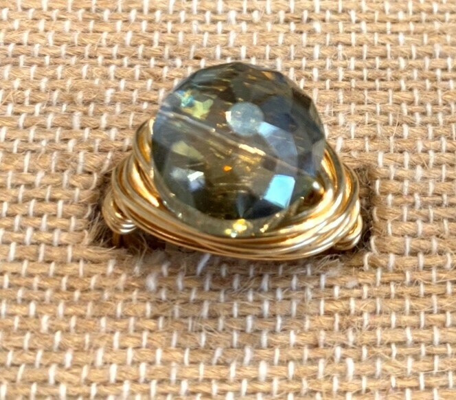Olivine Swarovski Ring (Small Puffed Coin) GF