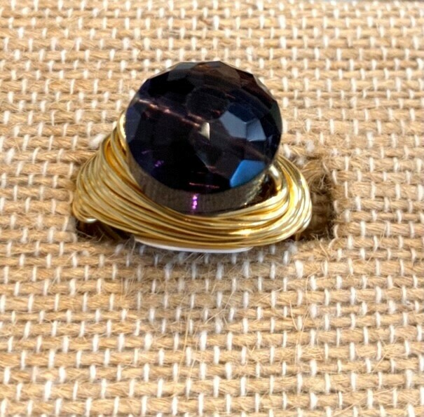 GR785 Dark Amethyst Swarovski Ring (Small Puffed Coin) GF
