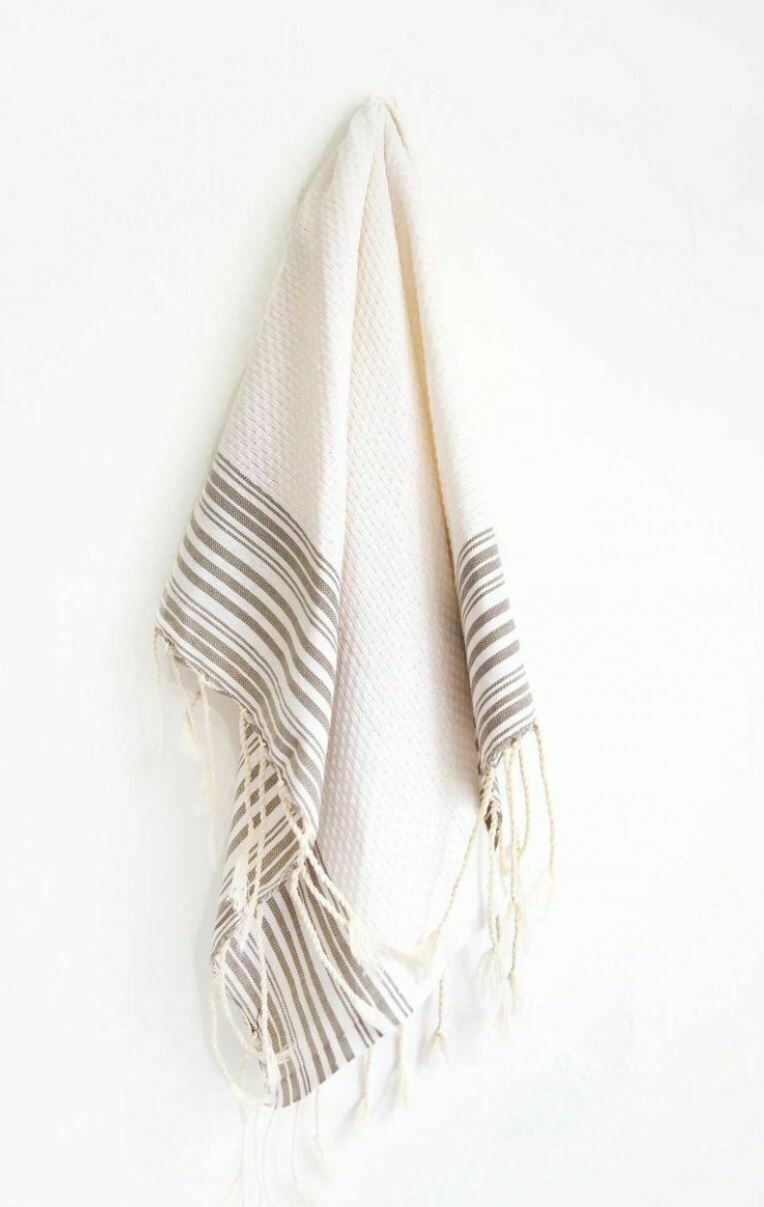 SL008 Guest Towel Banded Stripe White+Beige+Mink