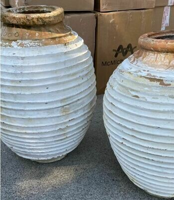 Extra Large Narrow Mouth Whitewashed Ribbed Pots
