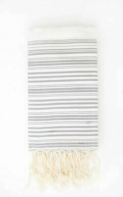 Fouta Banded White Beige + Mink