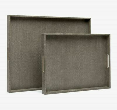 Hutton Grey Faux Raffia Tray SMALL