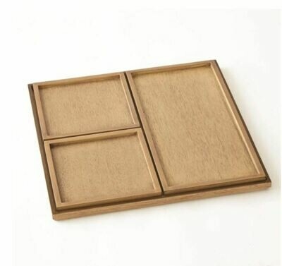Bleached Wood Nesting Inset Trays Set of 4