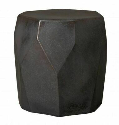 Faceted Gunmetal Ceramic Stool