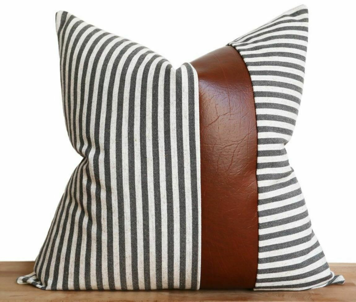"Cara Stripe, Charcoal 19"" Pillow"