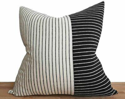 Annex Black and White Hand Woven Stripe 18 x 18