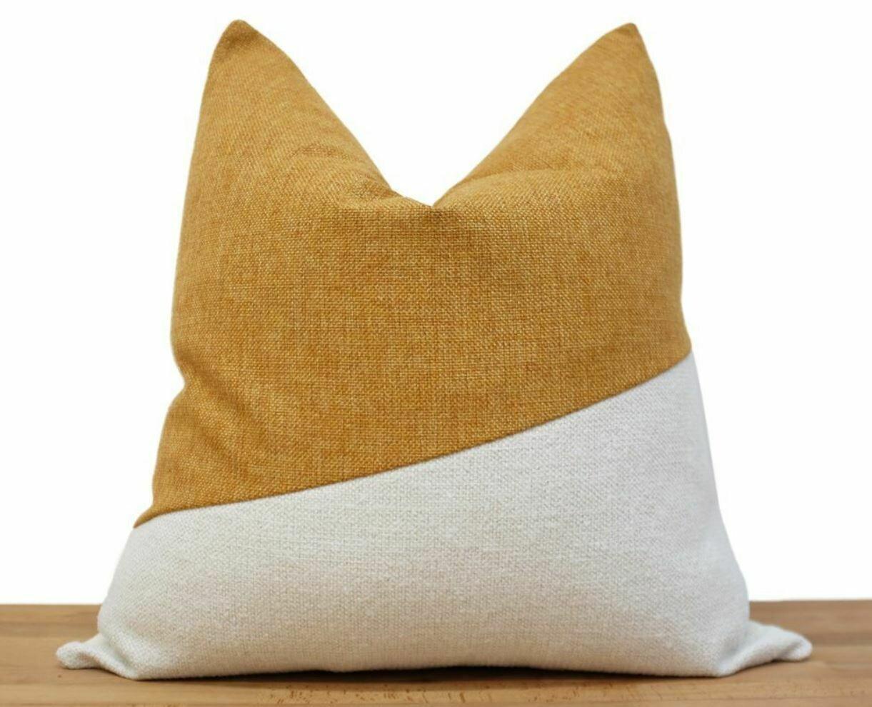 """CB006 Sequana Pillow - Saffron/White 19"""" x 19"""""""