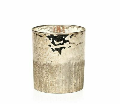 ZX051 Siberian Fir  Scented Antique Silver Single Wick Candle 4.5 in 4.5