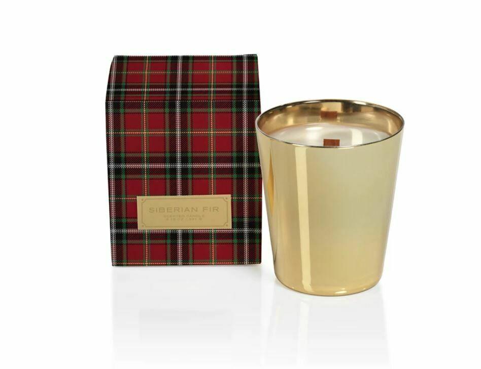 Siberian Fir Metallic Jar - GOLD  with RED  Plaid